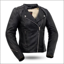 BLACK WIDOW WOMENS LEATHER JACKET - WOMEN'S LEATHER MOTORCYCLE JACKET
