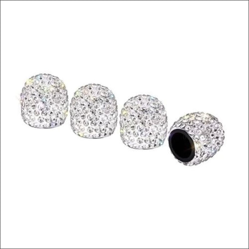 BLING VALVE STEM CAPS - WHITE - VALVE CAP