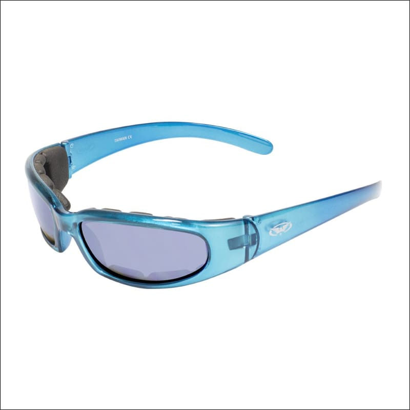 CHICAGO BLUE FLASH MIRRORED MOTORCYCLE RIDING GLASSES - GLASSES