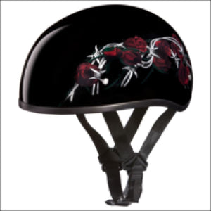 D.O.T. DAYTONA SKULL CAP WITH BARBED ROSES - 2XS - WOMEN'S MOTORCYCLE HELMET