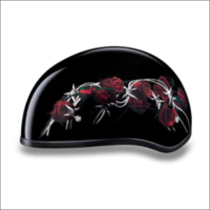 D.O.T. DAYTONA SKULL CAP WITH BARBED ROSES - WOMEN'S MOTORCYCLE HELMET