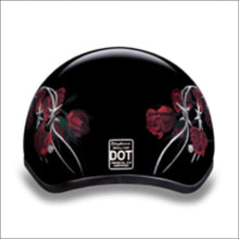 D.O.T. DAYTONA SKULL CAP WITH BARBED ROSES -WOMEN'S MOTORCYCLE  HELMET