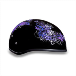 D.O.T. DAYTONA SKULL CAP WITH BUTTERFLY - WOMEN'S MOTORCYCLE HELMET