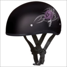 D.O.T. DAYTONA SKULL CAP WITH PURPLE ROSE - WOMEN'S MOTORCYCLE HELMET