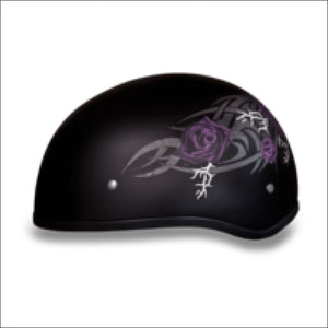 D.O.T. DAYTONA SKULL CAP WITH PURPLE ROSE -WOMEN'S MOTORCYCLE  HELMET