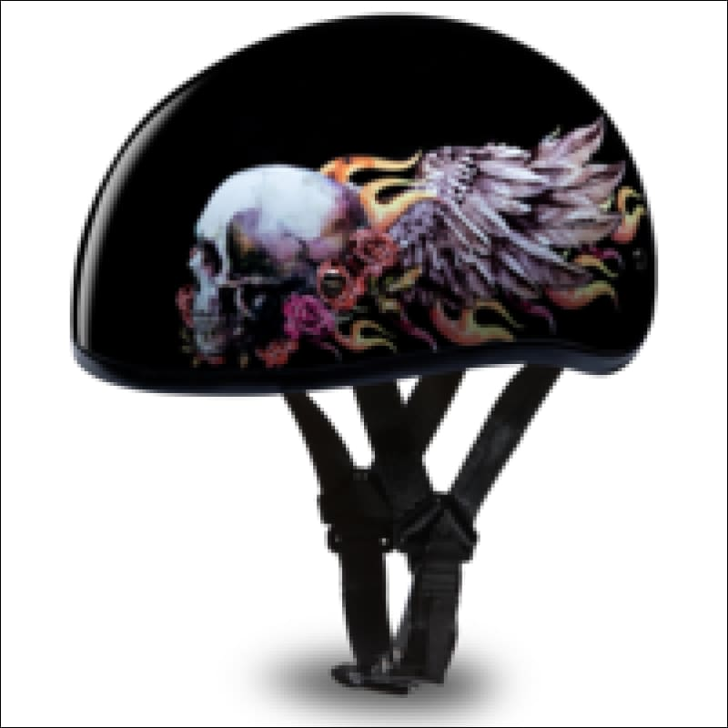 DAYTONA D.O.T. SKULL CAP WITH SKULL WINGS - WOMEN'S MOTORCYCLE HELMET