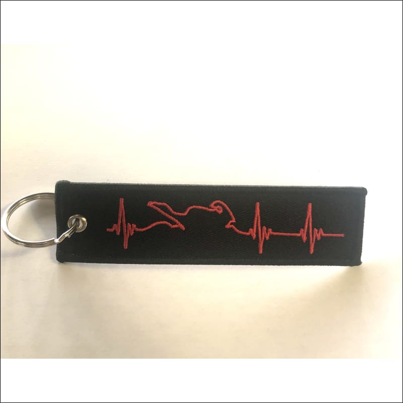 EMBROIDERED MOTORCYCLE KEY TAGS - RED HEARTBEAT - KEY TAG