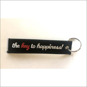 EMBROIDERED MOTORCYCLE KEY TAGS - KEY TO HAPPINESS - KEY TAG