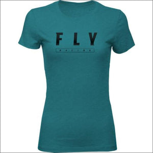 FLY LOGO TEE - S / DEEP TEAL HEATHER - APPAREL