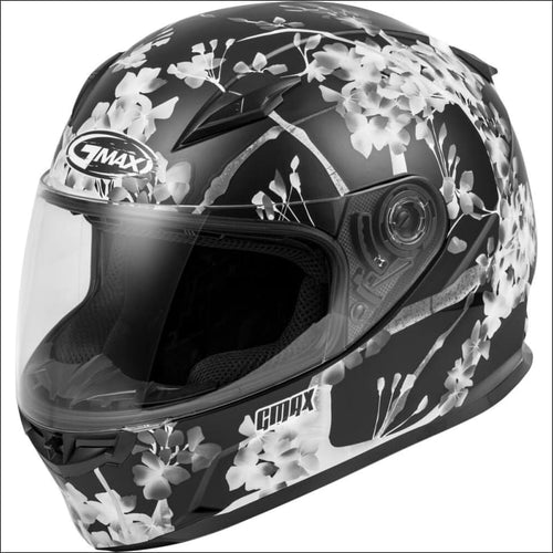 GMAX FF-49 FULL FACE BLOSSOM HELMET - XS / BLACK/WHITE/GREY - WOMEN'S MOTORCYCLE HELMET