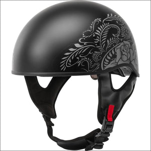 GMAX HH-65 DEVOTION ROSE MATTE BLACK SILVER - WOMEN'S MOTORCYCLE HELMET