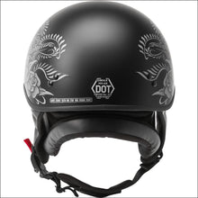 GMAX HH-65 DEVOTION ROSE MATTE BLACK SILVER -WOMEN'S MOTORCYCLE  HELMET