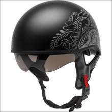 GMAX HH-65 DEVOTION ROSE MATTE BLACK SILVER - S - WOMEN'S MOTORCYCLE HELMET