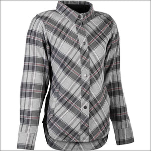 HIGHWAY 21 WOMENS ROGUE FLANNEL RIDING SHIRT - PINK/GREY / XS - WOMEN'S MOTORCYCLE JACKET