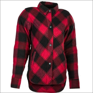 HIGHWAY 21 WOMENS ROGUE FLANNEL RIDING SHIRT - RED/BLACK / XS - WOMEN'S MOTORCYCLE JACKET