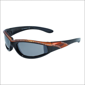 MARILYN 11 WOMENS FOAM PADDED MOTORCYCLE RIDING GLASSES - ORANGE/BLACK - GLASSES
