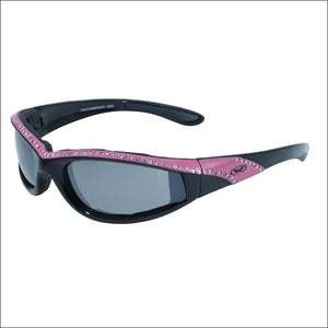 MARILYN 11 WOMENS FOAM PADDED MOTORCYCLE RIDING GLASSES - PINK/BLACK - GLASSES