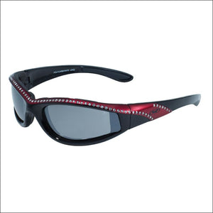 MARILYN 11 WOMENS FOAM PADDED MOTORCYCLE RIDING GLASSES - RED/BLACK - GLASSES