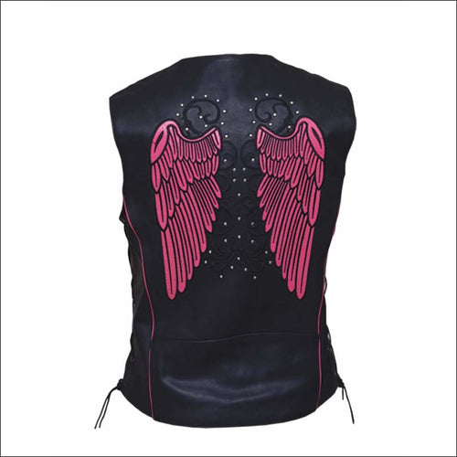 PINK ANGEL WING LEATHER VEST - VEST