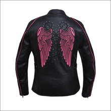 PINK ANGEL WING WOMENS MOTORCYCLE JACKET - LEATHER JACKET