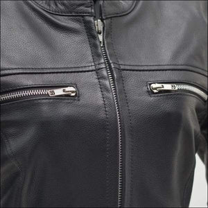 ROXY - LIGHTWEIGHT CAFE STYLE LEATHER JACKET - WOMEN'S LEATHER MOTORCYCLE JACKET