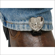 RYDER CLIPS FOR STRRUP/STRAP BOOTS - HEART SKULL CHROME - FOOTWEAR