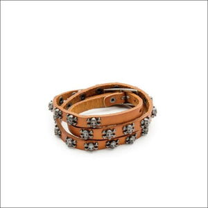 TRIPLE WRAP SKULLS BRACELET - BROWN - BRACELET