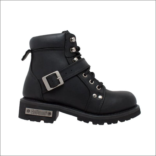 WOMENS BLACK ZIPPERED LACED BOOT - BOOTS