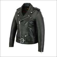 WOMENS CLASSIS PLAIN SIDE FITTED JACKET WITH FRONT BUCKLE - WOMEN'S LEATHER MOTORCYCLE JACKET