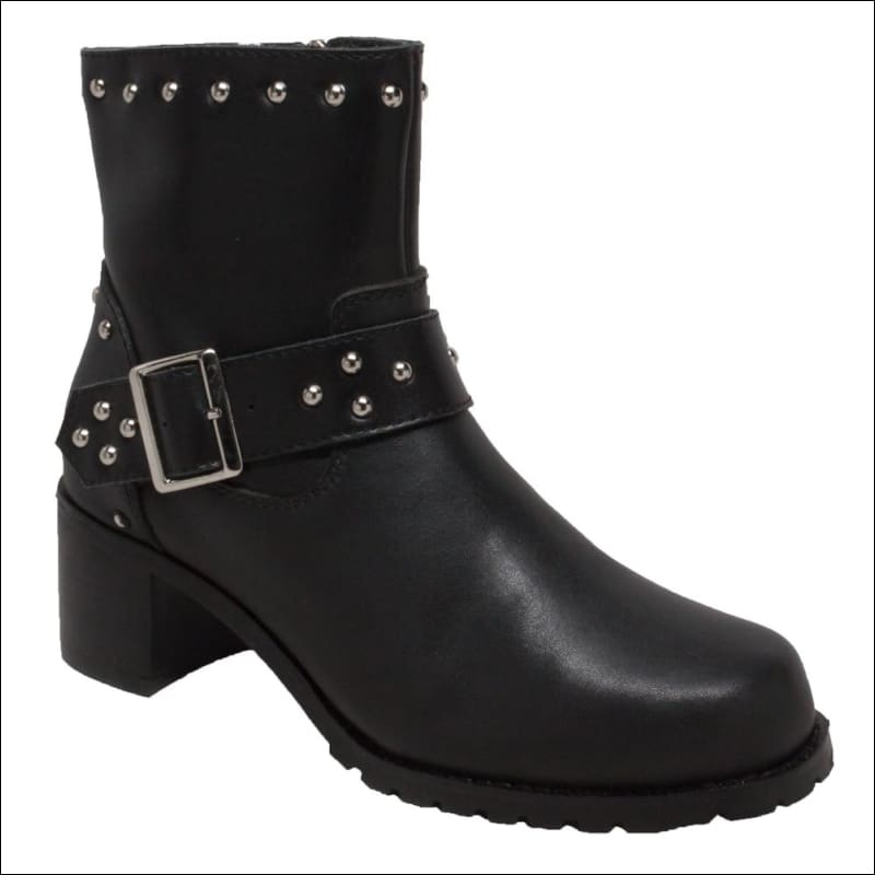 WOMENS LEATHER 8 HEELED BUCKLE BOOT - BOOTS