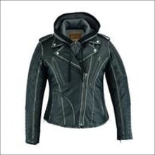 WOMENS LEATHER JACKET WITH RUB-OFF FINISH AND HOOD - WOMEN'S LEATHER MOTORCYCLE JACKET