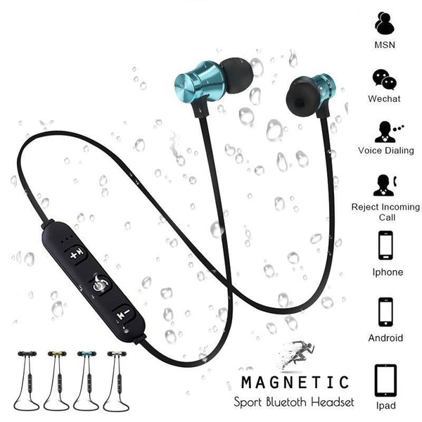 Magnetic Attraction Sweatproof Bluetooth Earphone Headset with Charging Cable & Build-in Mic - BlueTechTalk