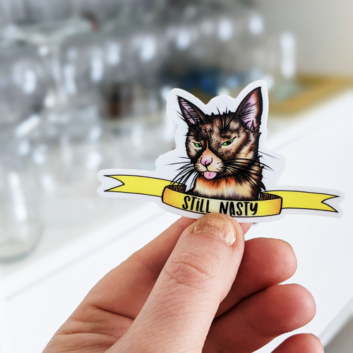 Still Nasty Cat Feminist Sticker