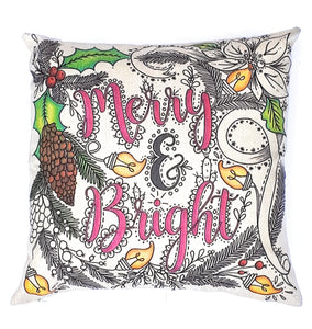 (Wholesale) Merry And Bright Pillow Cover (ONLY)