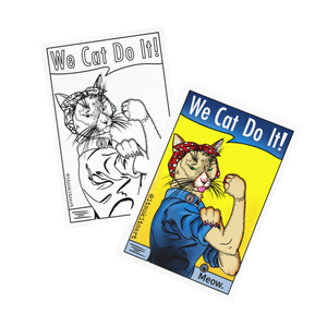 (Wholesale) Postcard- We Cat Do It! Coloured and Uncoloured Set