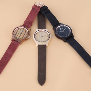 Original Luxury Handcrafted Wood Watch With Leather Strap