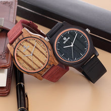 Load image into Gallery viewer, Original Luxury Handcrafted Wood Watch With Leather Strap