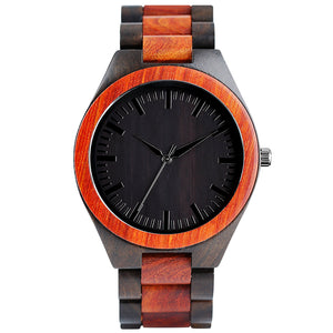 Handcrafted Men's Bamboo Sports Quartz Men Watch With Wood Bracelet