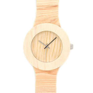 Pine Handmade Wooden Watch For Women/Men With Soft Leather Grain Strap