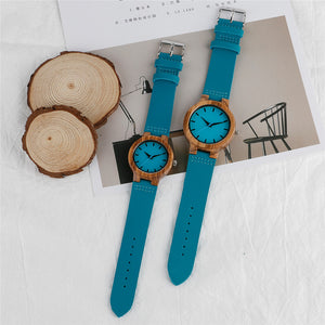 Handcrafted Fashion Wood Quartz Watch With Genuine Leather Strap