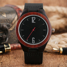 Load image into Gallery viewer, Handcrafted Men's Dark Tone Bamboo Quartz Watch