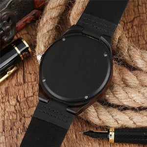 Handcrafted Men's Dark Tone Bamboo Quartz Watch