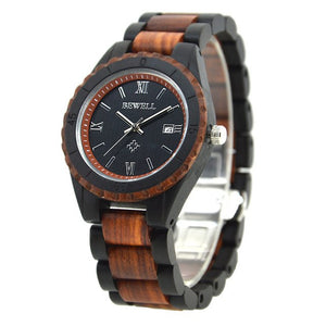 Handcrafted Wood Quartz Watch: Analog, Waterproof, Calendar, Date
