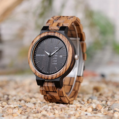 Limited Edition Handmade Wood Watch For Men With Week/Date Display