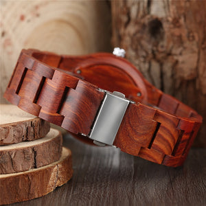 Handcrafted Red Bamboo Quartz Watch