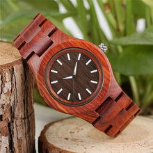 Load image into Gallery viewer, Handcrafted Red Bamboo Quartz Watch