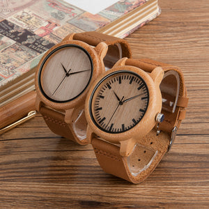 Luxury Men/Women Handcrafted Bamboo Wristwatch With Leather Strap
