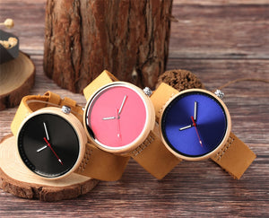 Colorful Handcrafted Women's Quartz Maple Wood Watch With Leather Strap