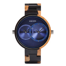 Load image into Gallery viewer, BOBO BIRD Handmade Wooden Quartz Watch With Two Timezones