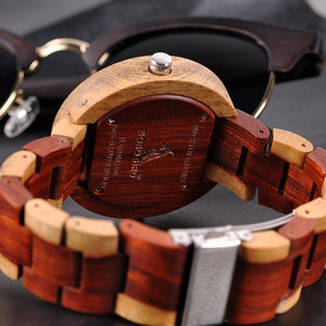 BOBO BIRD Handmade Wooden Quartz Watch With Two Timezones